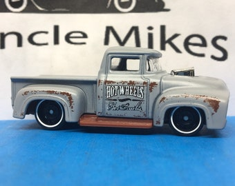 Hot Wheels & Display Case 1956 Ford F100 Pick Up Truck PRIMER GRAY