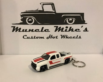 Hot Wheels white Chevy Silverado truck Christmas Ornament,  Keychain or Zipper Pull