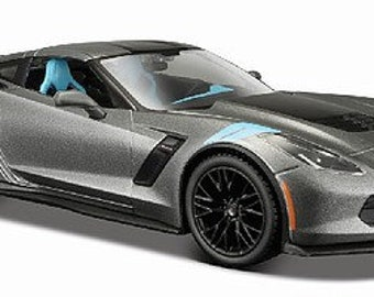 Collectible 1/24 Scale Diecast 2017 Corvette Grand Sport Coupe (Met. Grey) Diecast Model from Maisto