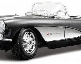 Collectible 1/18 Scale Diecast 1957 Corvette Convertible (Black)