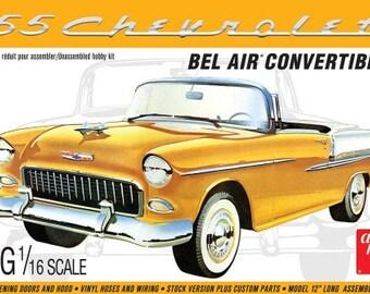 Plastic Model Kit AMT-1134 1955 Chevy Bel Air Convertible Plastic Car Model