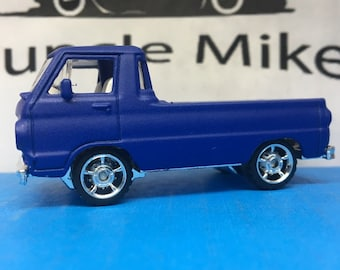 Custom Matchbox: 1966 Dodge A100 Pick Up Custom Painted SATIN INK BLUE Rubber Tires Mopar