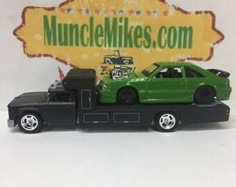 Custom Hot Wheels 1966 Chevy Race Hauler Satin Black and a 1993 Mustang Gloss Green Drag Car COMBO