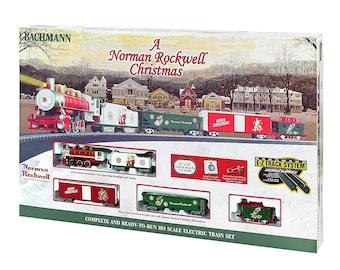 Model Railroading BAC-741 Bachmann Trains - A Norman Rockwell Christmas Ready To Run Electric Train Set - HO Scale