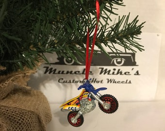 Hot Wheels Christmas Ornament One Custom rare  Daredevils offroad motorcycle dirt bike blue yellow red red wheels Christmas Ornament