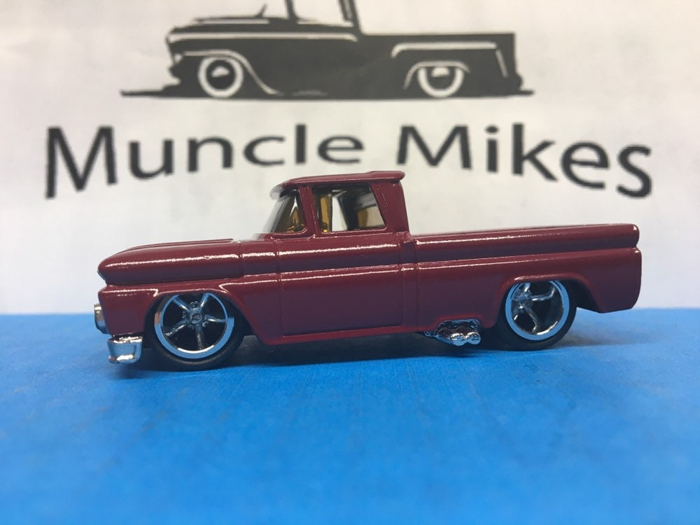 Custom Hot Wheels 1962 Chevy Custom Painted GLOSS BURGUNDY Rubber Tires Real Rider Style