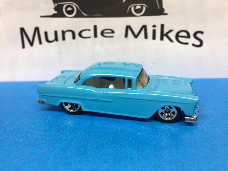 Custom Hot Wheels 1955 Chevy Custom Painted Satin Island Splash Blue Free Shipping!