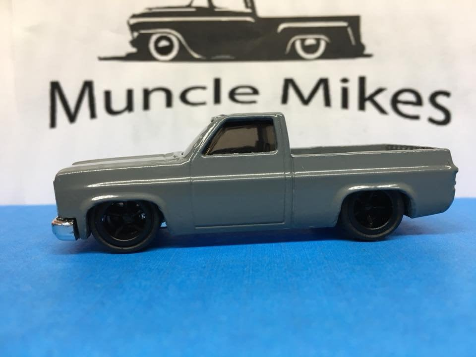 Custom Hot Wheels 83 Chevy Silverado SWB MACHINE GRAY Rubber Tires Real Rider Style