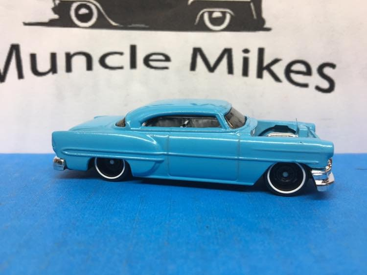 Custom Hot Wheels 53 Chevy Rat Rod Hot Rod Custom Painted Sky Blue Free Shipping!