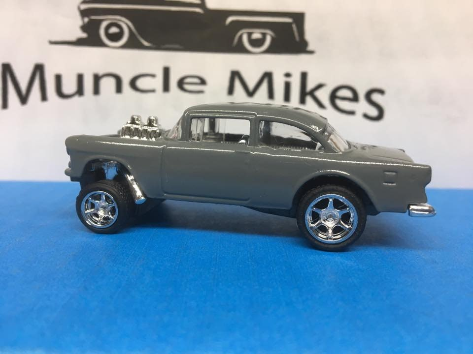 Custom Hot Wheels 55 Chevy Gasser Custom Painted Machine Gray Rubber Tires