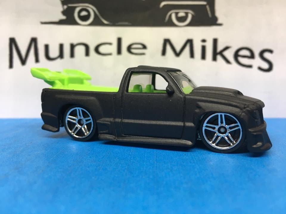Custom Hot Wheels Super Tuned Chevy Truck Flat Black