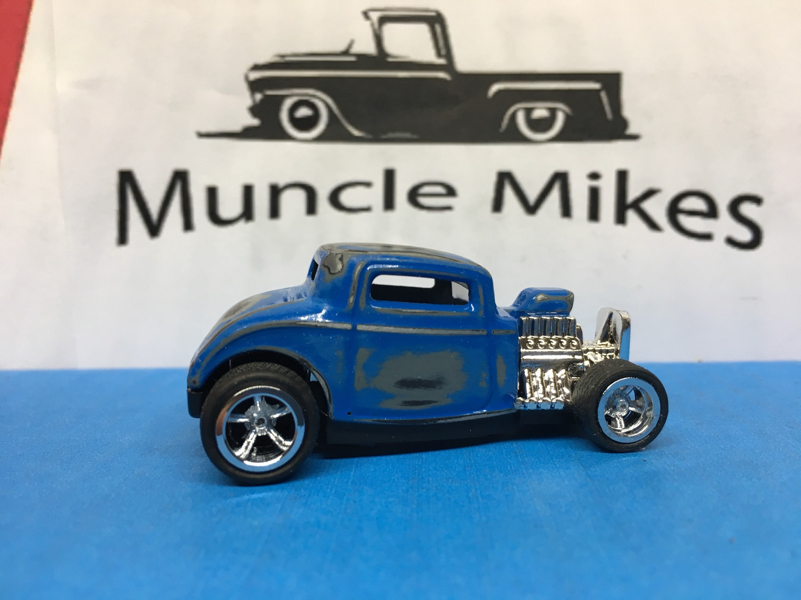 Custom Hot Wheels 32 Ford Patina Paint Rubber Tires Real Rider Style
