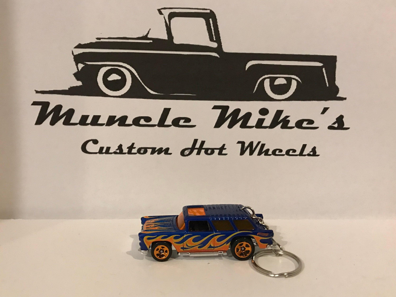Custom Hot Wheels 55 Chevy Nomad wagon blue with orange flames keychain key chain