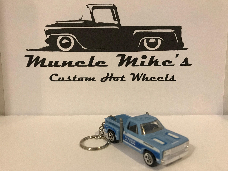 Custom Hot Wheels blue Firestone Express Dodge pickup truck key chain keychain