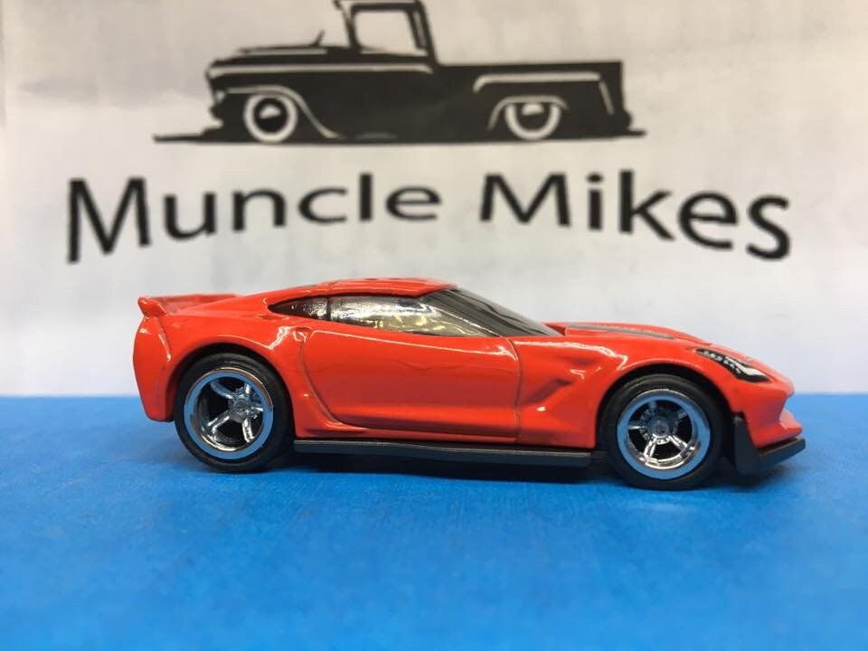 Custom Hot Wheels Corvette C7 Z06 2016 Rubber Tires Real Rider Style