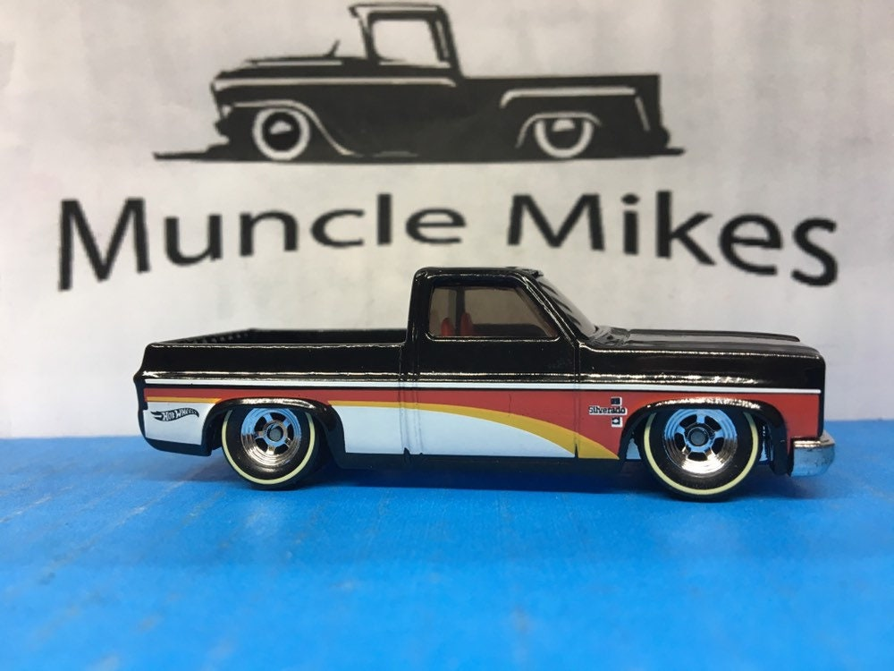 Custom Hot Wheels 1983 Chevy Silverado SWB C10 With Chrome Wheels and Rubber Tires Genuine Real Riders