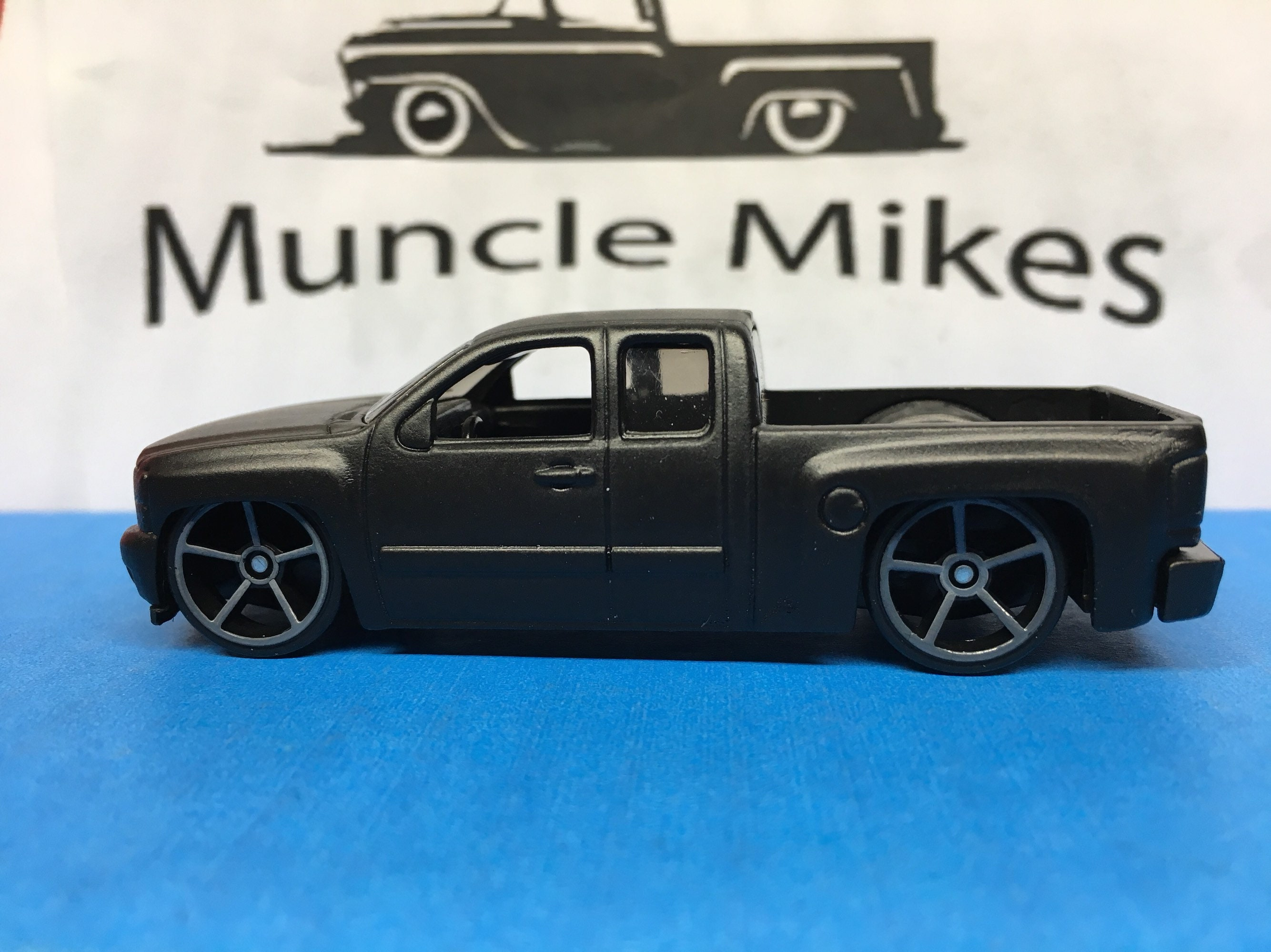 Custom Hot Wheels Chevy Silverado Flat Black Free Shipping!