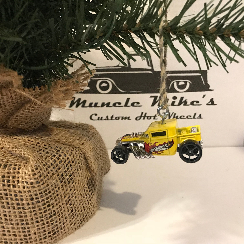 Hot Wheels Christmas Ornament One Custom  yellow bone shaker hot rod hotrod rat rod ratrod pickup truck Christmas Ornament