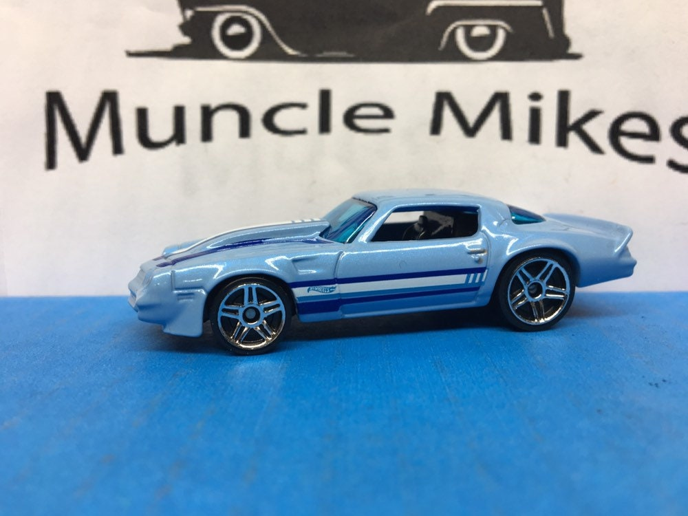 Collectible 2018 Hot Wheels 1981 Chevy Camaro in Baby Blue With Custom Clear Display Case