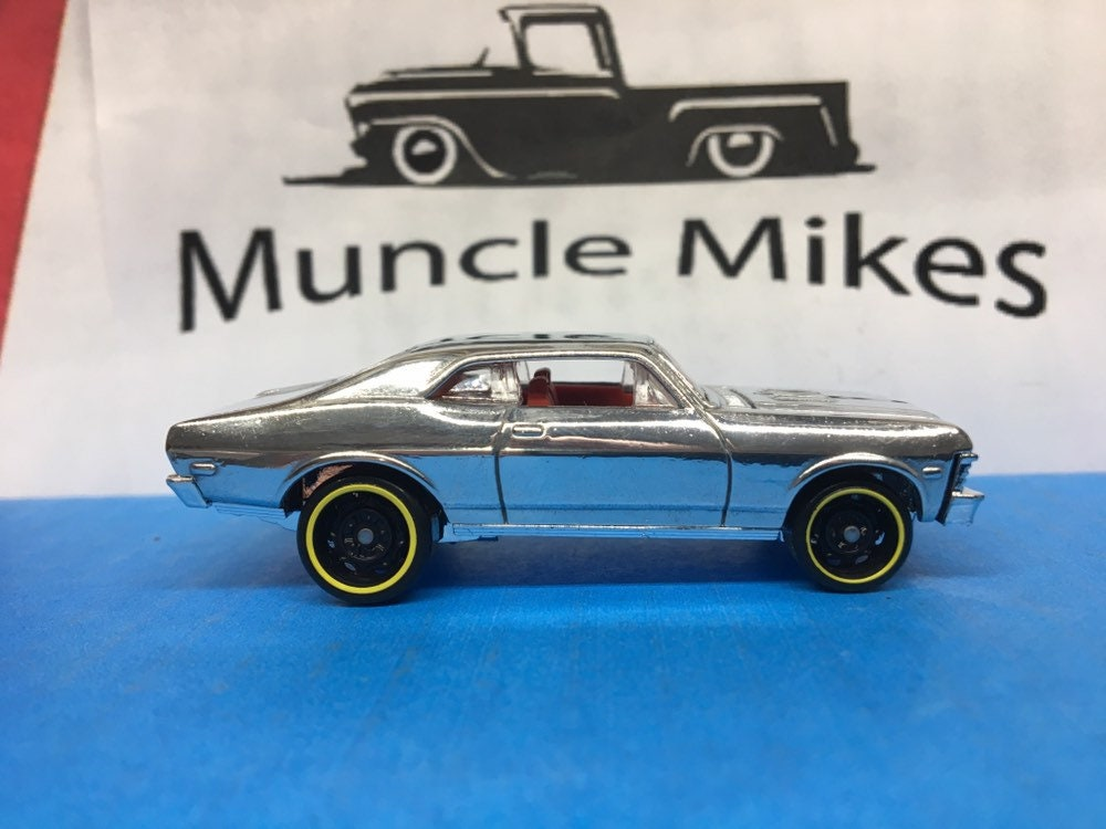 Custom Hot Wheels '68 1968 Chevy Nova SS 350: POLISHED With Display Case, Cake Topper, Keychain, Zipper Pull, Ornament - Buyer Choice