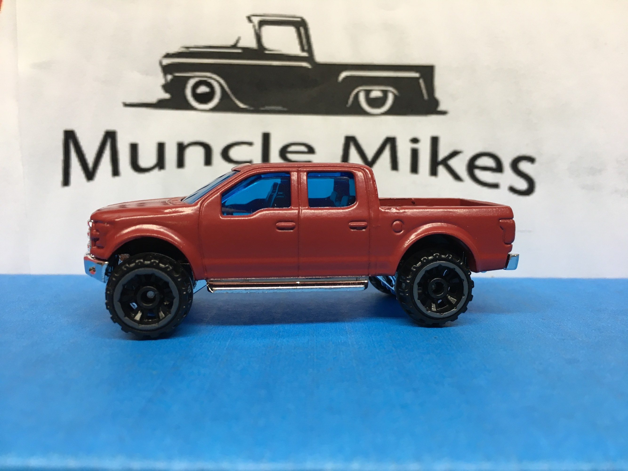 Custom Hot Wheels Lifted 2015 F150 Truck Flat Red (BW)