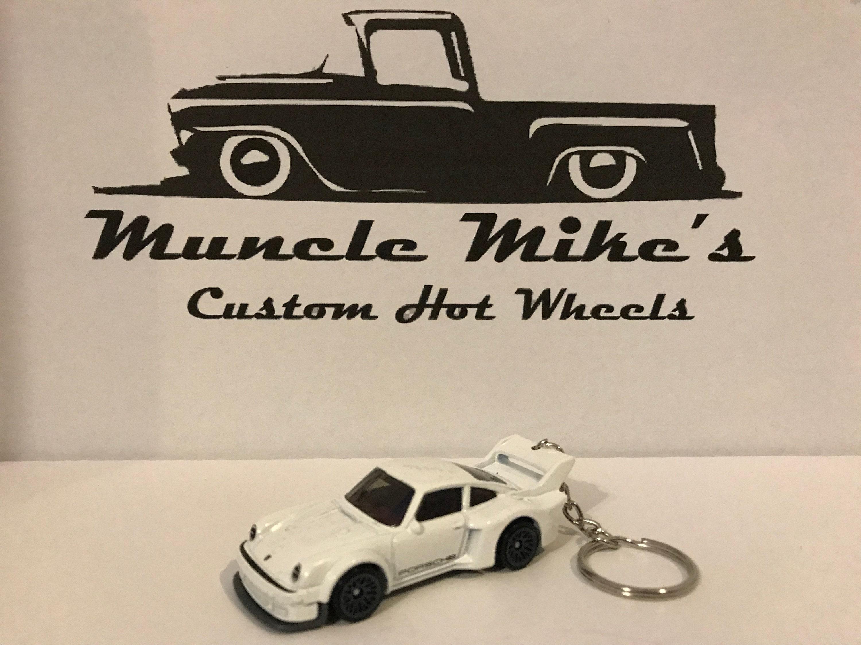 Custom Hot Wheels white Porsche 934.5 key chain keychain