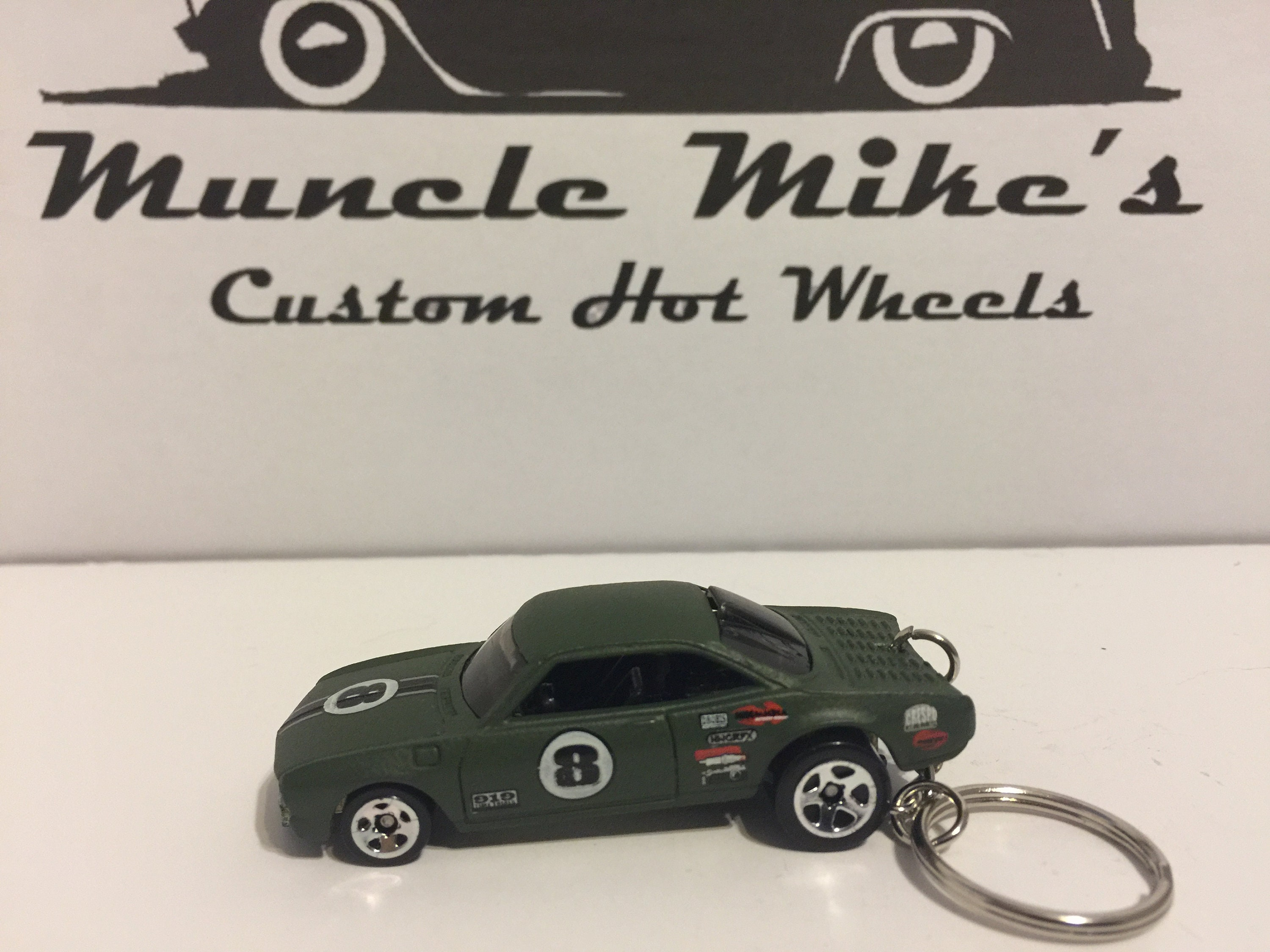 one-of-a-kind Custom Hot Wheels army green VAIRY 8 Corvair racecar key chain keychain
