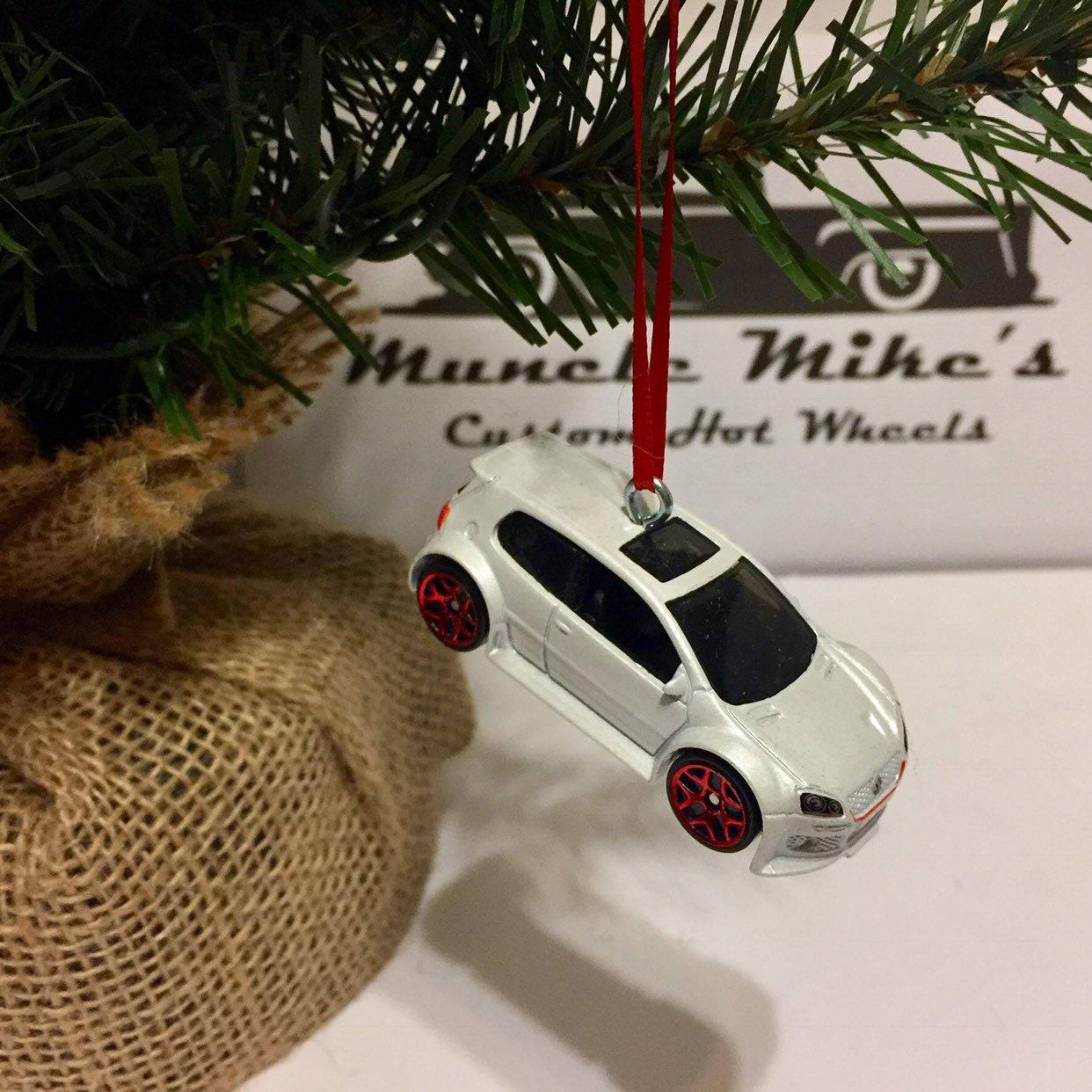 Hot Wheels Christmas Ornament Custom 2008  White Volkswagen VW Golf GTI Christmas Ornament