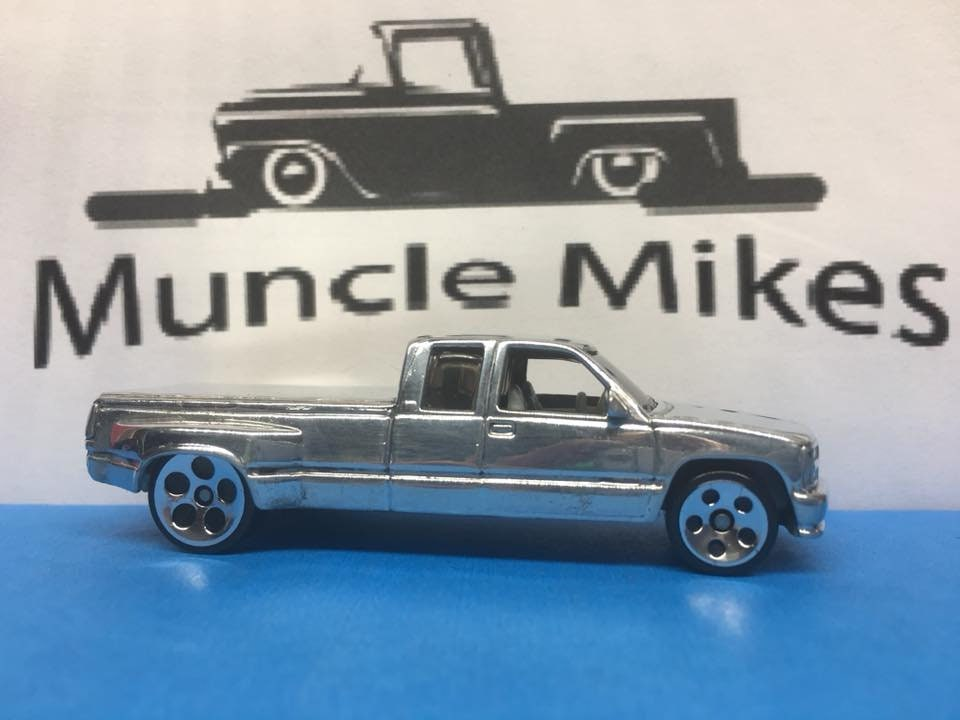 Custom Hot Wheels Chevy C3500 Dually: POLISHED With Display Case, Cake Topper, Keychain, Zipper Pull, Ornament - Buyer Choice Free Shipping!