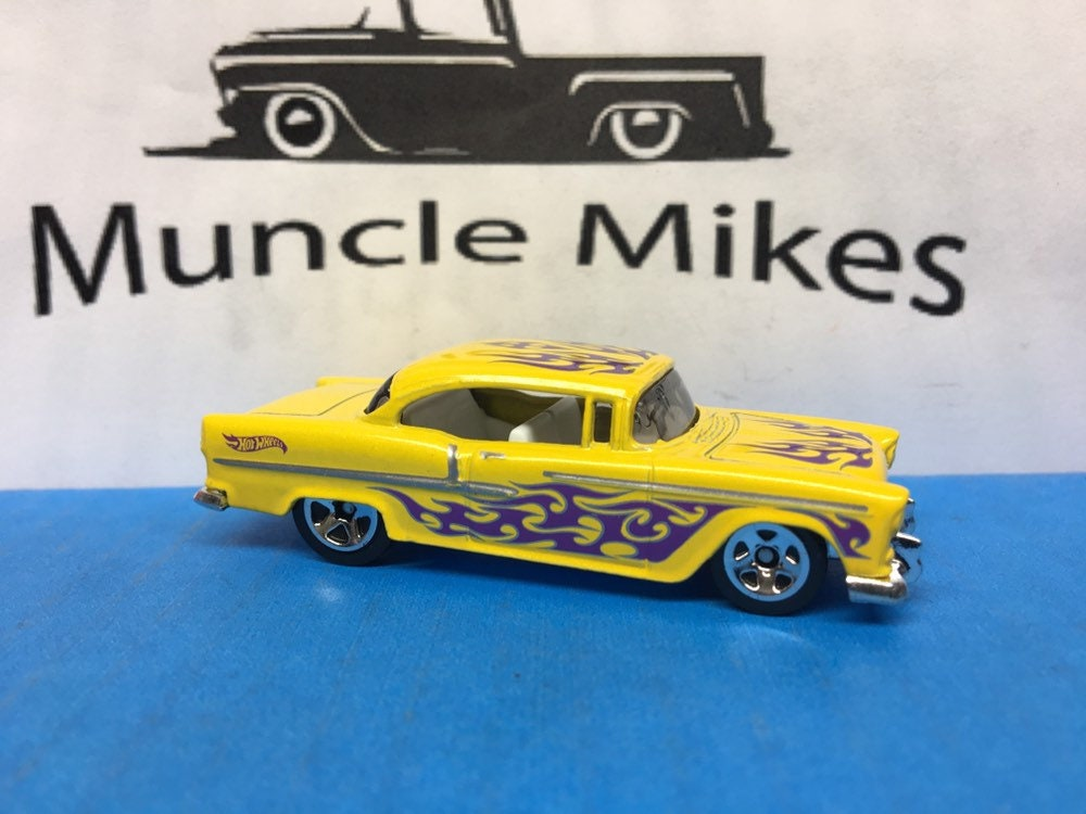Collectible 2018 Hot Wheels 1955 Chevy Yellow With Purple Flames With Custom Clear Display Case