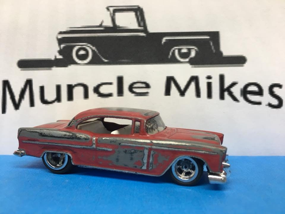 Custom Hot Wheels 55 Chevy Red Patina Rubber Tires Real Rider Style