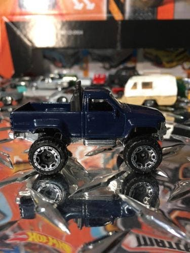 Custom Hot Wheels 1987 Toyota 4X4 Pickup Truck Navy Blue (Super Rare)