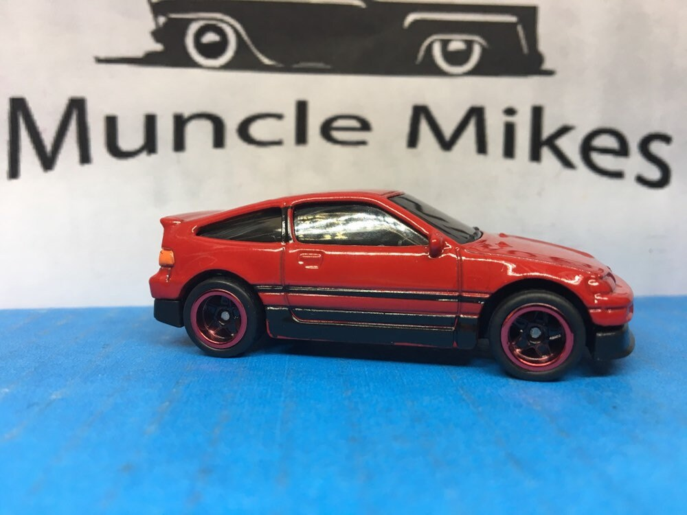 Custom Hot Wheels Honda CRX Red Lip Racing Wheels and Rubber Tires