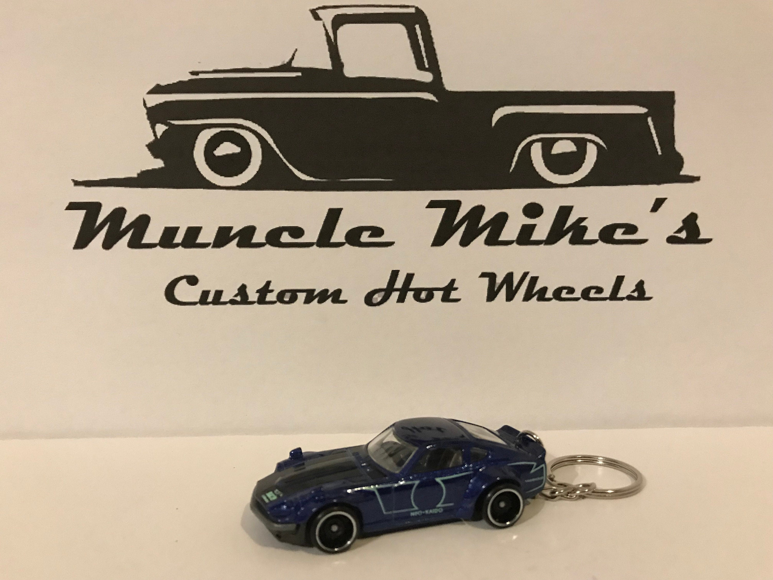 Custom Hot Wheels Blue Custom Datsun 240z Christmas Ornament,  Keychain or Zipper Pull