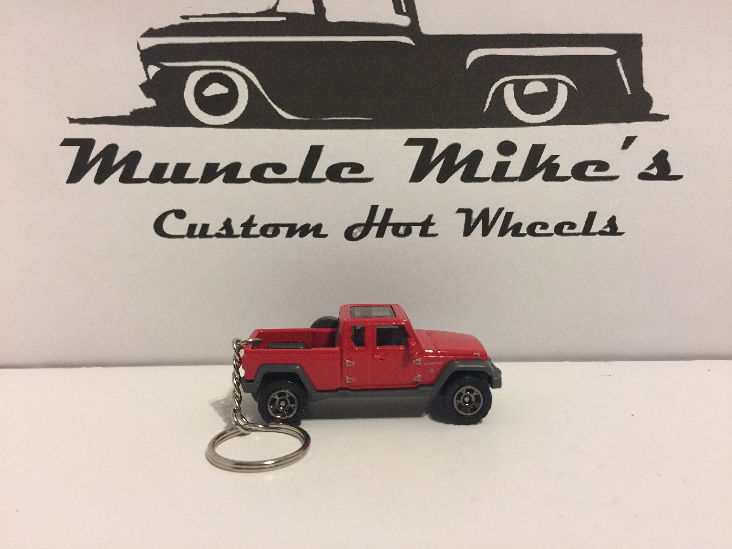 Custom Matchbox red '17 2017 Jeep Gladiator pickup truck key chain keychain (not Hot Wheels)