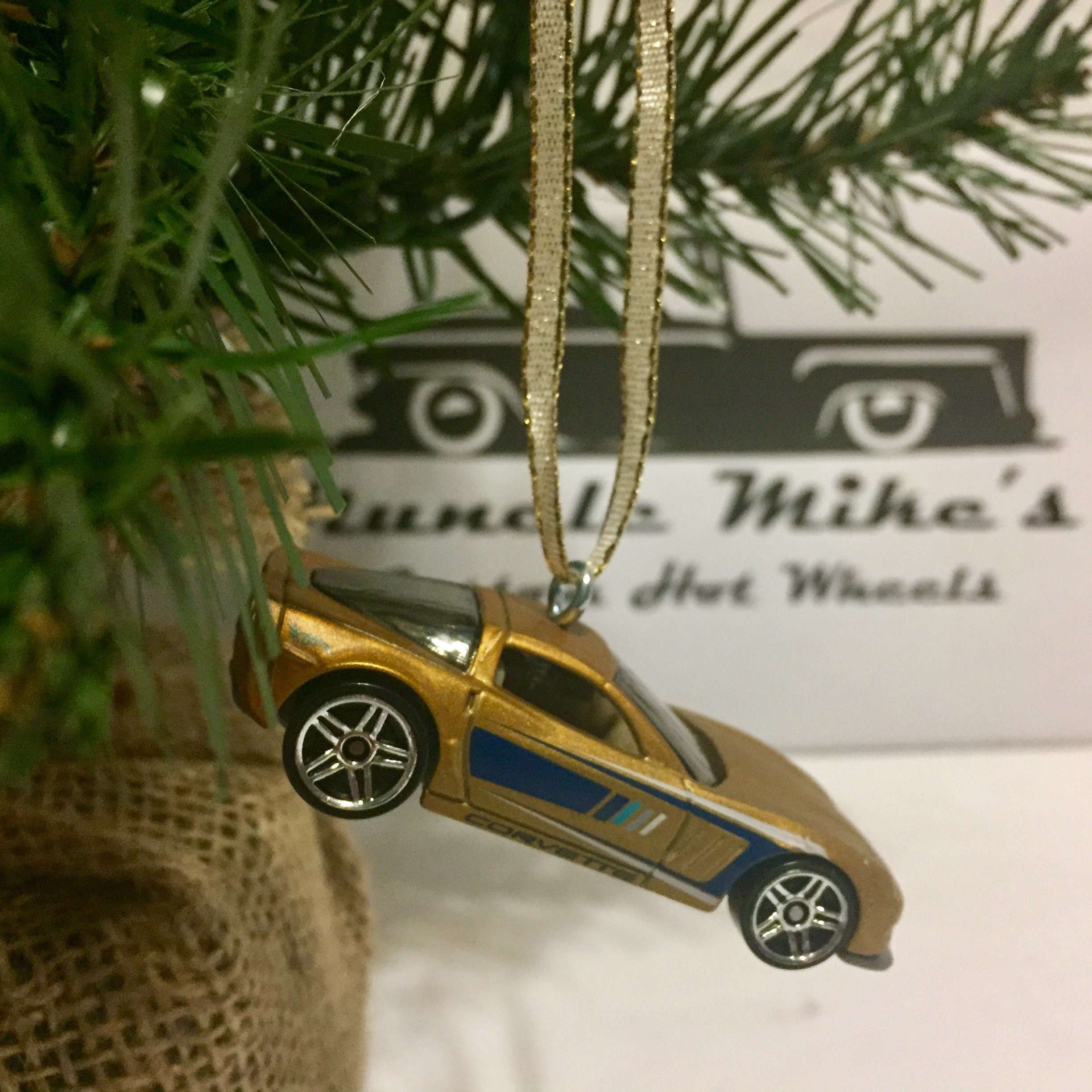 Hot Wheels Christmas Ornament Hot wheels Gold with blue pinstripe Corvette