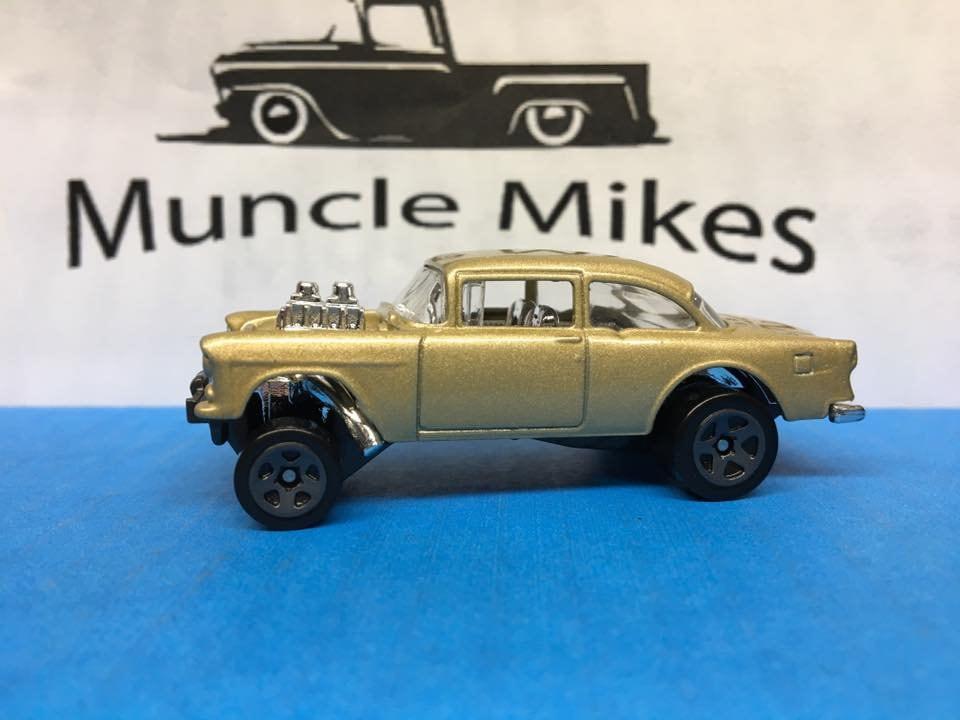 Custom Hot Wheels 55 chevy Gasser Custom Painted Pure Gold