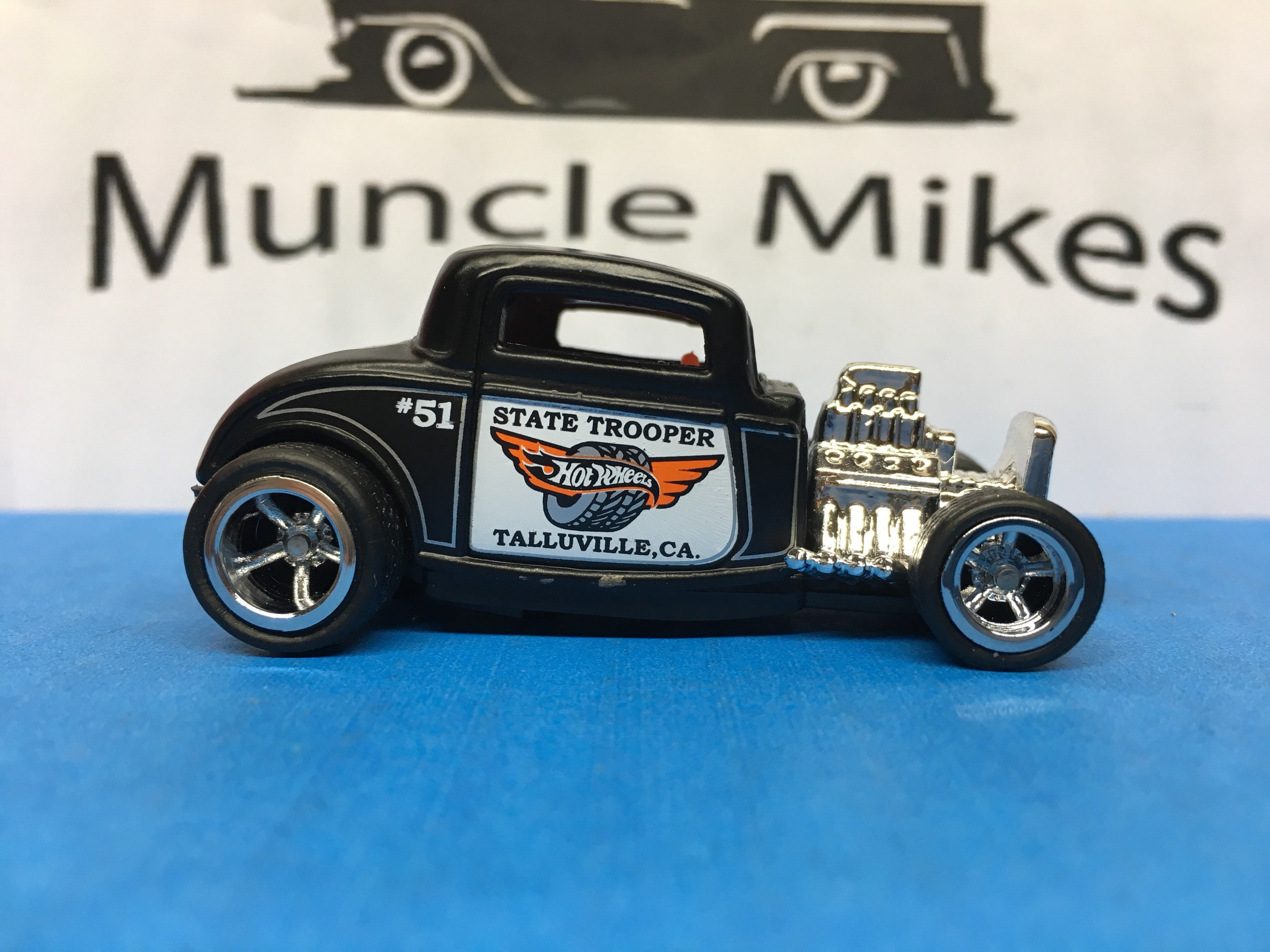 Custom Hot Wheels 32 Ford State Trooper Rubber Tires Real Rider Style