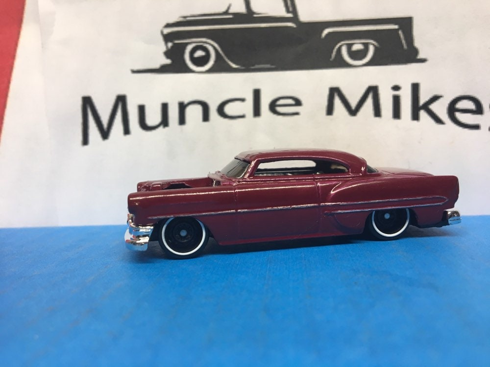 Custom Hot Wheels 53 Chevy Rat Rod Hot Rod Custom Painted Gloss Burgundy and Bare Metal Body Lines Free Shipping!