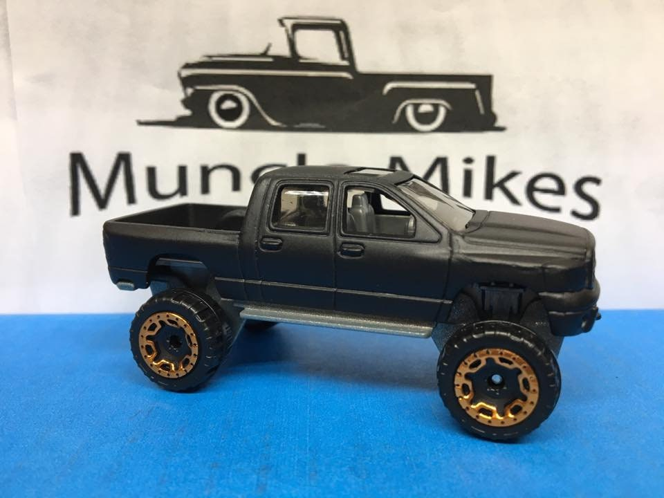 Custom Hot Wheels Dodge Ram 1500 Truck Flat Black