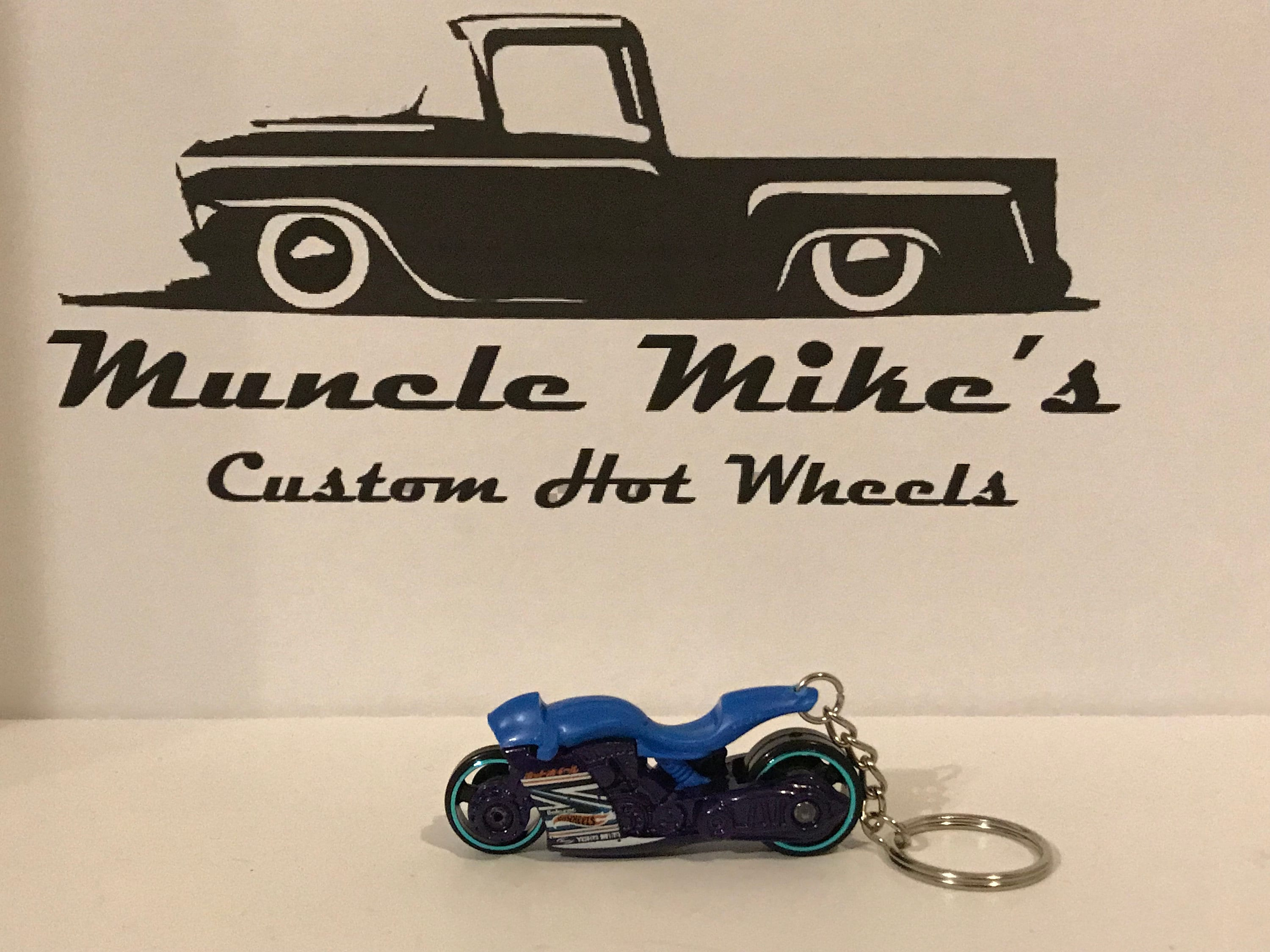Custom Hot Wheels blue and purple street bike motorcycle key chain keychain
