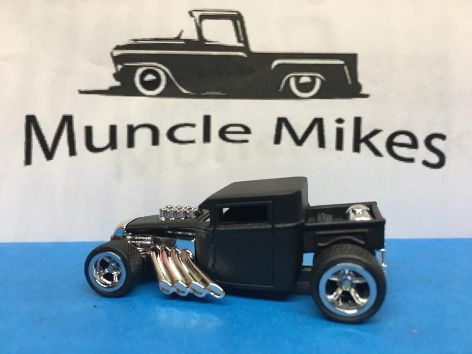 Custom Hot Wheels Bone Shaker Rat Rod Flat Black Rubber Tires Real Rider Style