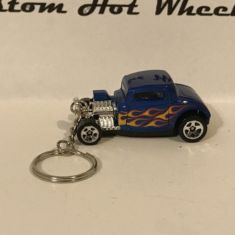 Custom Hot Wheels 32 Ford blue with flames keychain key chain