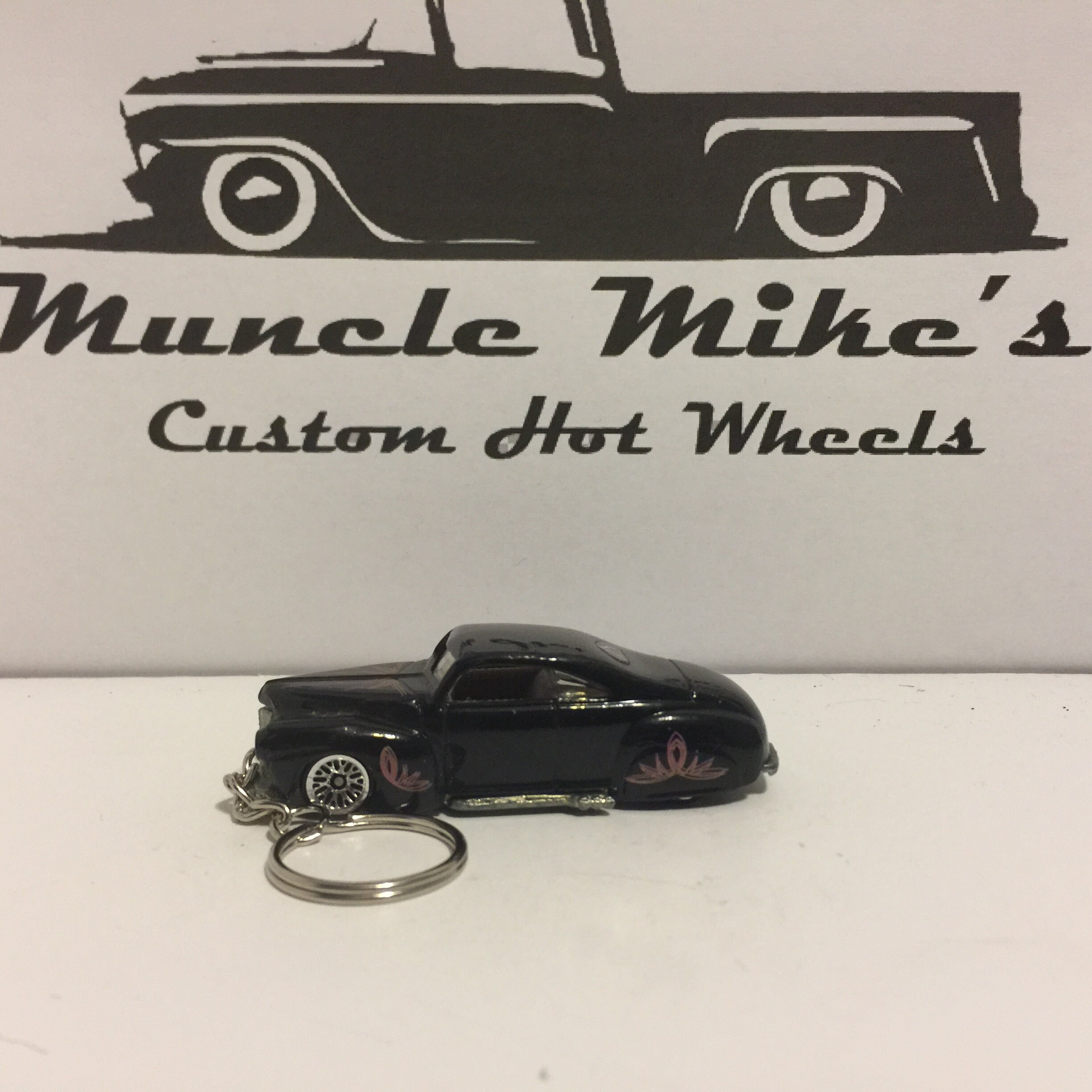 one-of-a-kind Custom Hot Wheels black with pink pinstripe '41 Ford Coupe