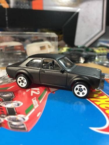 Custom Hot Wheels 70 Ford Escort Rs1600 Flat Black