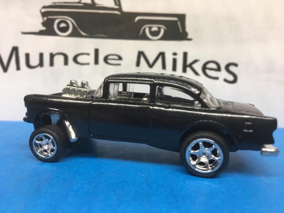 Custom Hot Wheels 55 Chevy Gasser Brilliant Black Pearl Rubber Tires