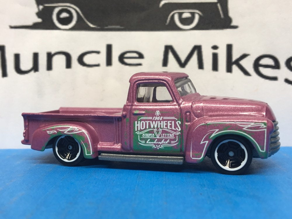 Collectible 2018 Hot Wheels 1952 Chevy Pick Up Truck PINK With Custom Clear Display Case Free Shipping!