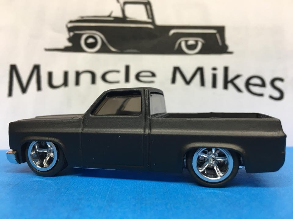 Custom Hot Wheels 83 Chevy Silverado SWB Flat Black Rubber Tires Real Rider Style