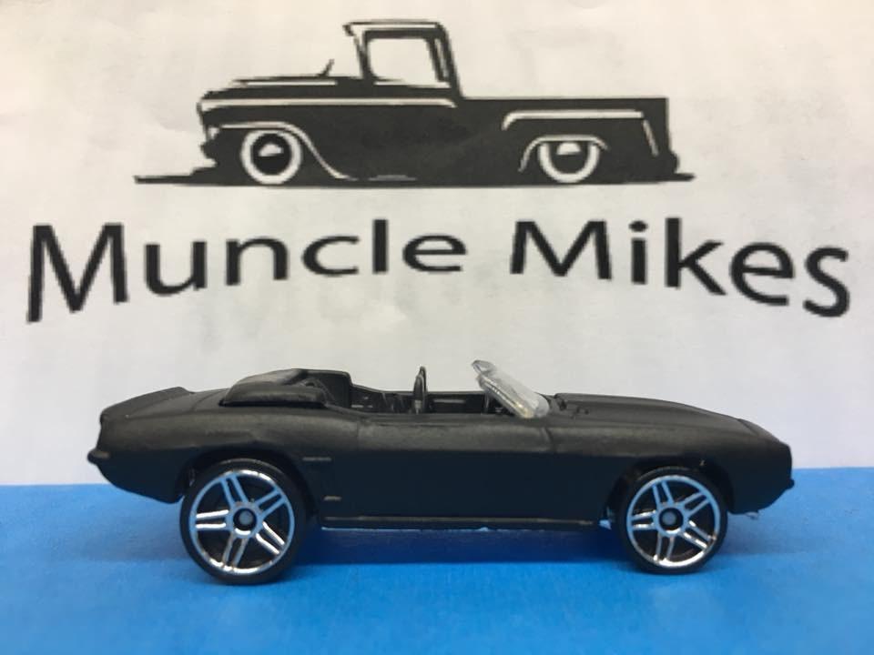 Custom Hot Wheels 69 Camaro Convertible Flat Black
