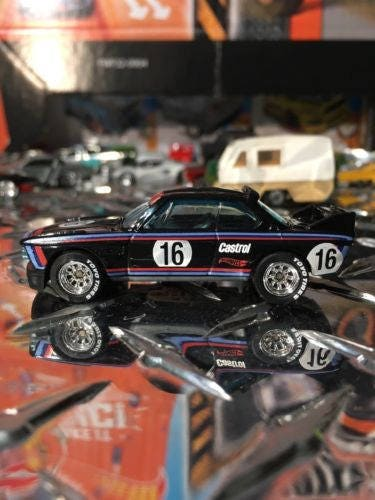 Custom Hot Wheels Bmw 1973 Bmw 3.0 Csl Race Car Rubber Tires Real Rider Style